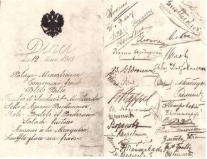 Unknown Russian signatures on a French menu dated 1912. The question is, how to discover who they belong to?